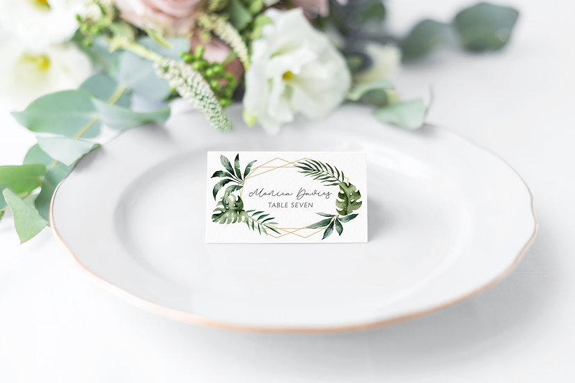 Tropical Watercolor Wedding Place Cards