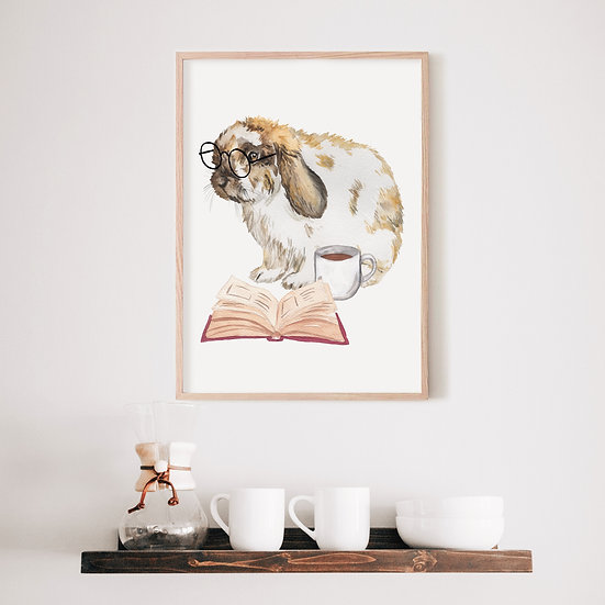 Brown and White Lop Bunny with Glasses and Coffee Print