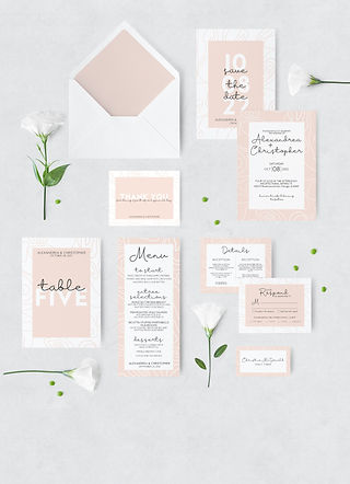 pink modern wedding stationary with envelope and flowers