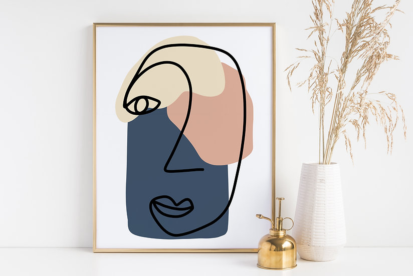 Women's Face Line Art Abstract Modern Print