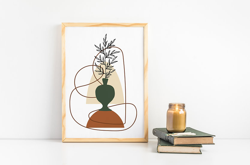 Mid Century Abstract Floral Line Art Print