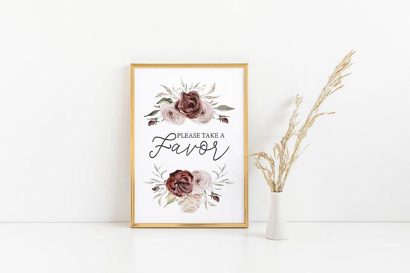 Burgundy and Fall Flower Favor Wedding Sign