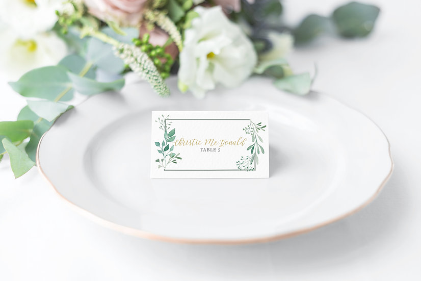 Leaf Watercolor Wedding Place Cards