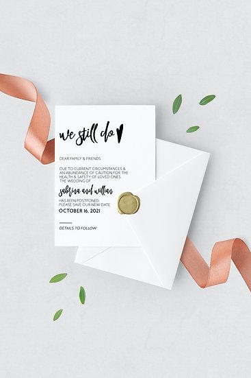 We Still Do - Elegant Change the Date Wedding Card