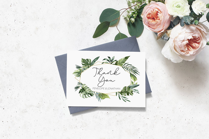 Tropical Watercolor Wedding Thank You Cards