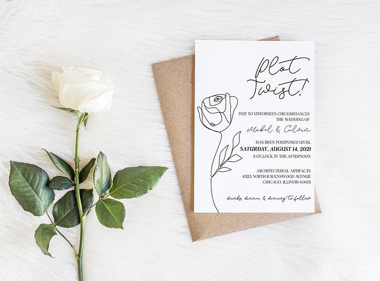 Plot Twist! Modern Floral Line Art Wedding Change the Date