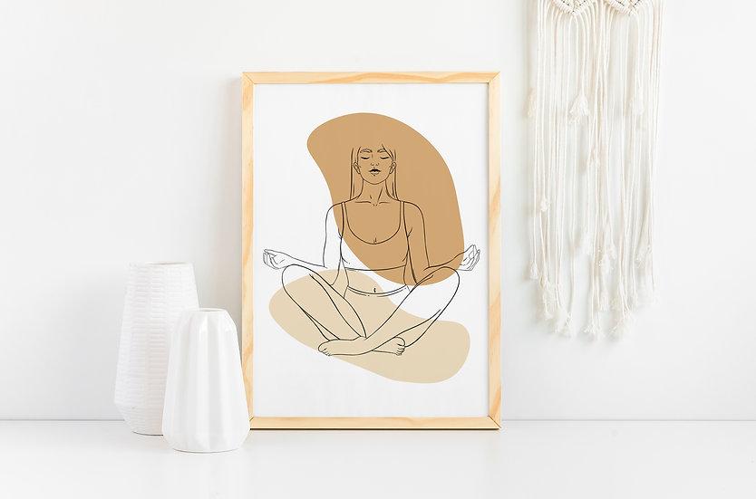 Yoga Woman Modern Abstract Line Art Print
