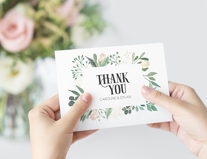 Floral Watercolor Wedding Thank You Card
