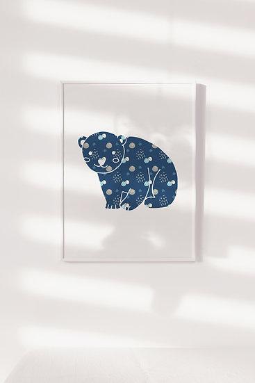 Floral Bear Digital Print