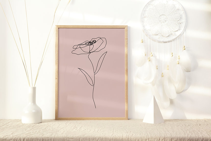 Floral Line Art Digital Print
