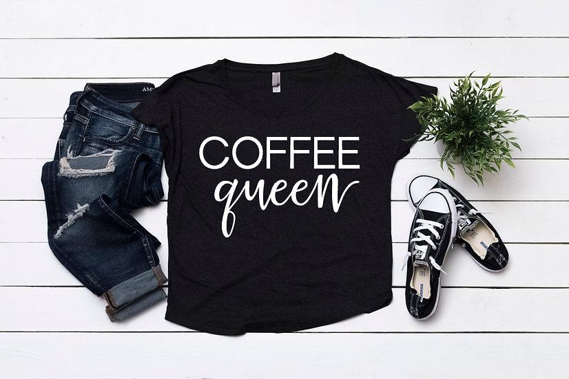 Coffee Queen - Black Scoop Neck
