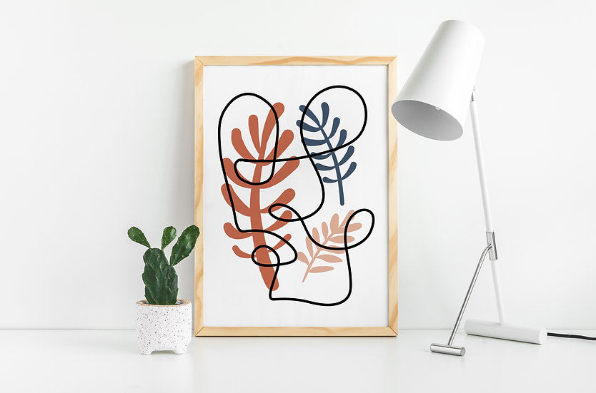 Modern Abstract Botanical Line Art Print
