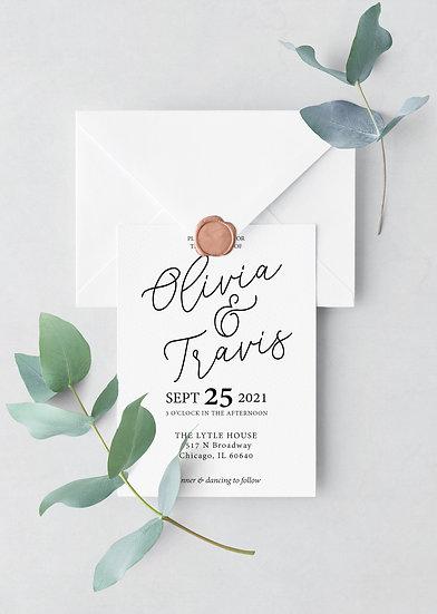 Minimal Typography Wedding Invitation