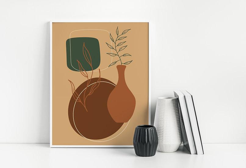 Terracotta Mid Century Botanical Line Art Print
