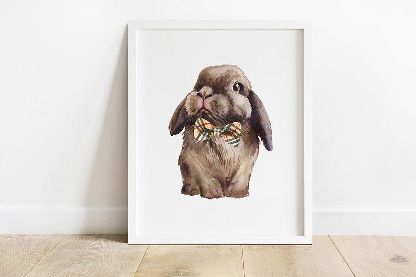 Brown Lop Bunny Bowtie Print