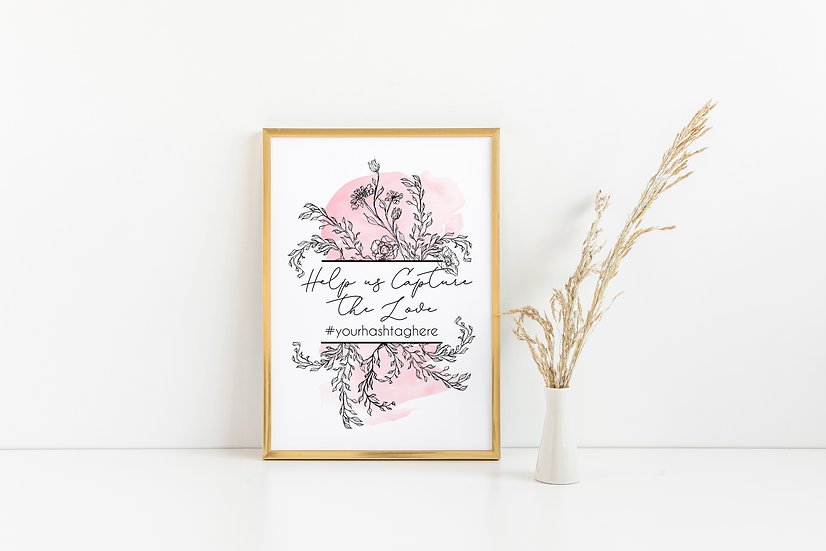 Floral Watercolor Hashtag Wedding Sign