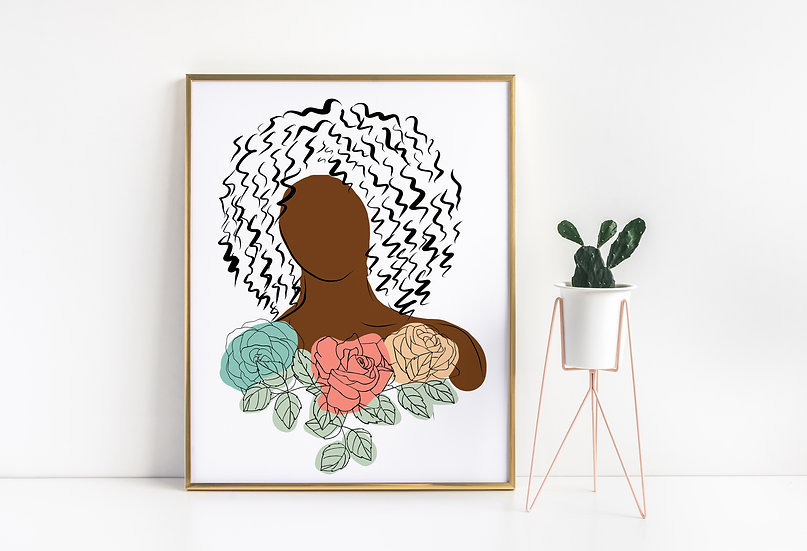 Floral Woman of Color Modern Line Art Print