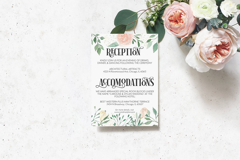 Floral Watercolor Wedding Detail Card