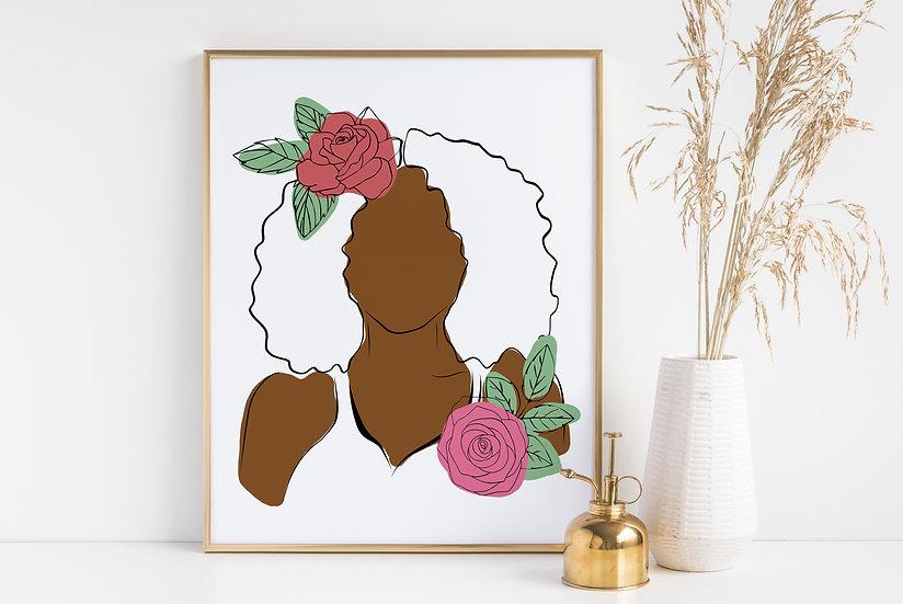 Floral Woman of Color Minimal Line Art Print