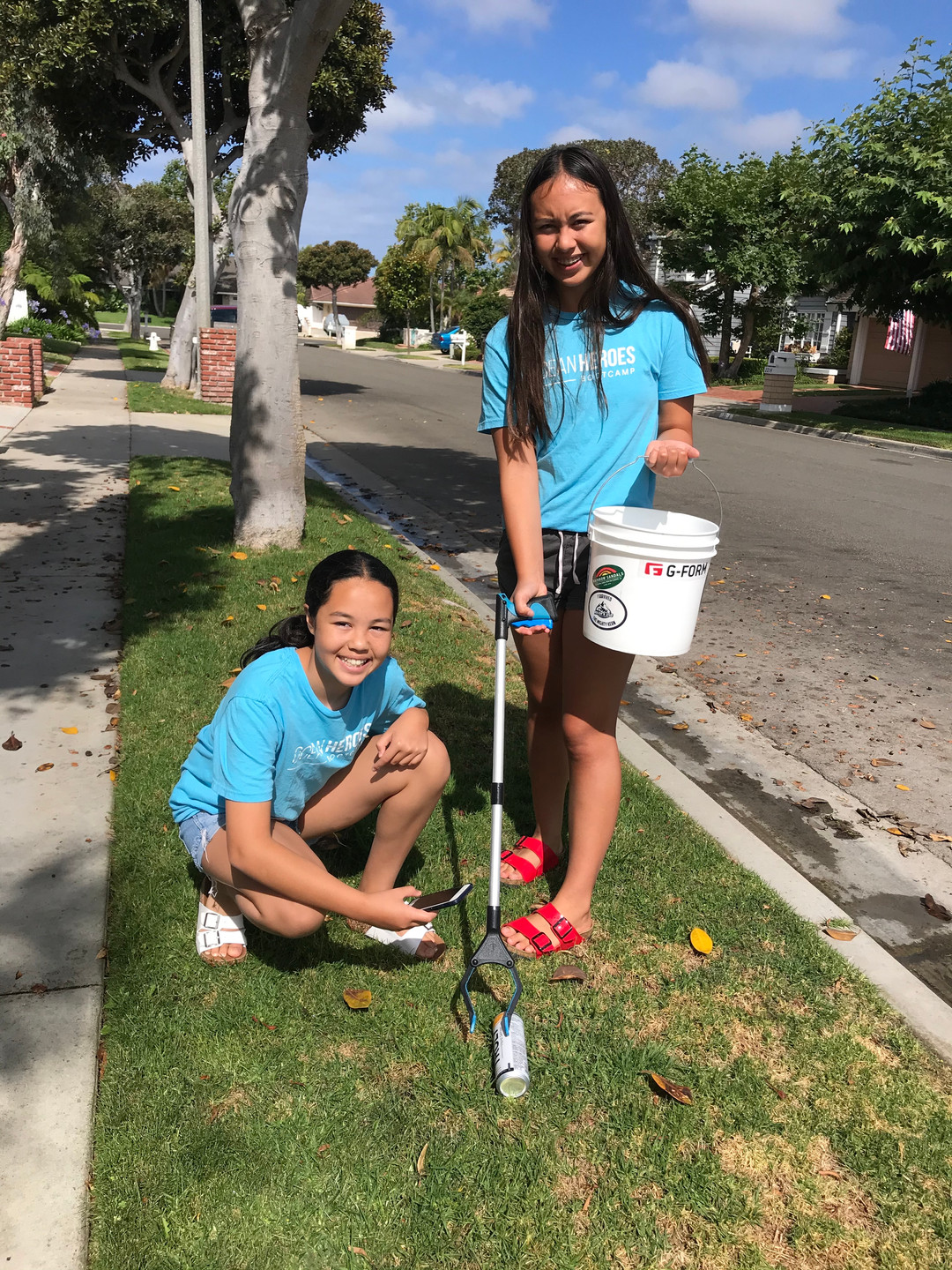 Neighborhood clean up with my sister