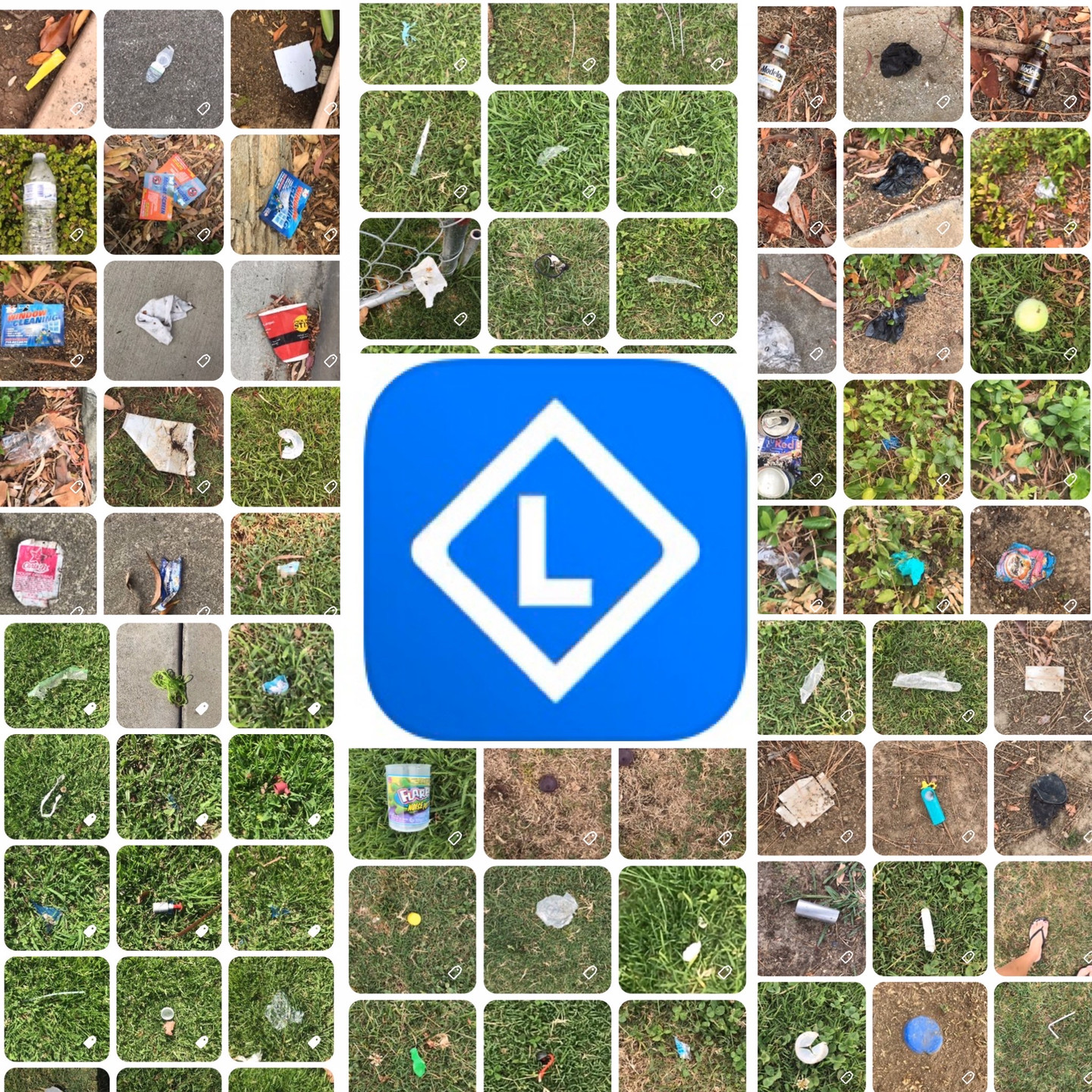 Trash collected on Litterati App