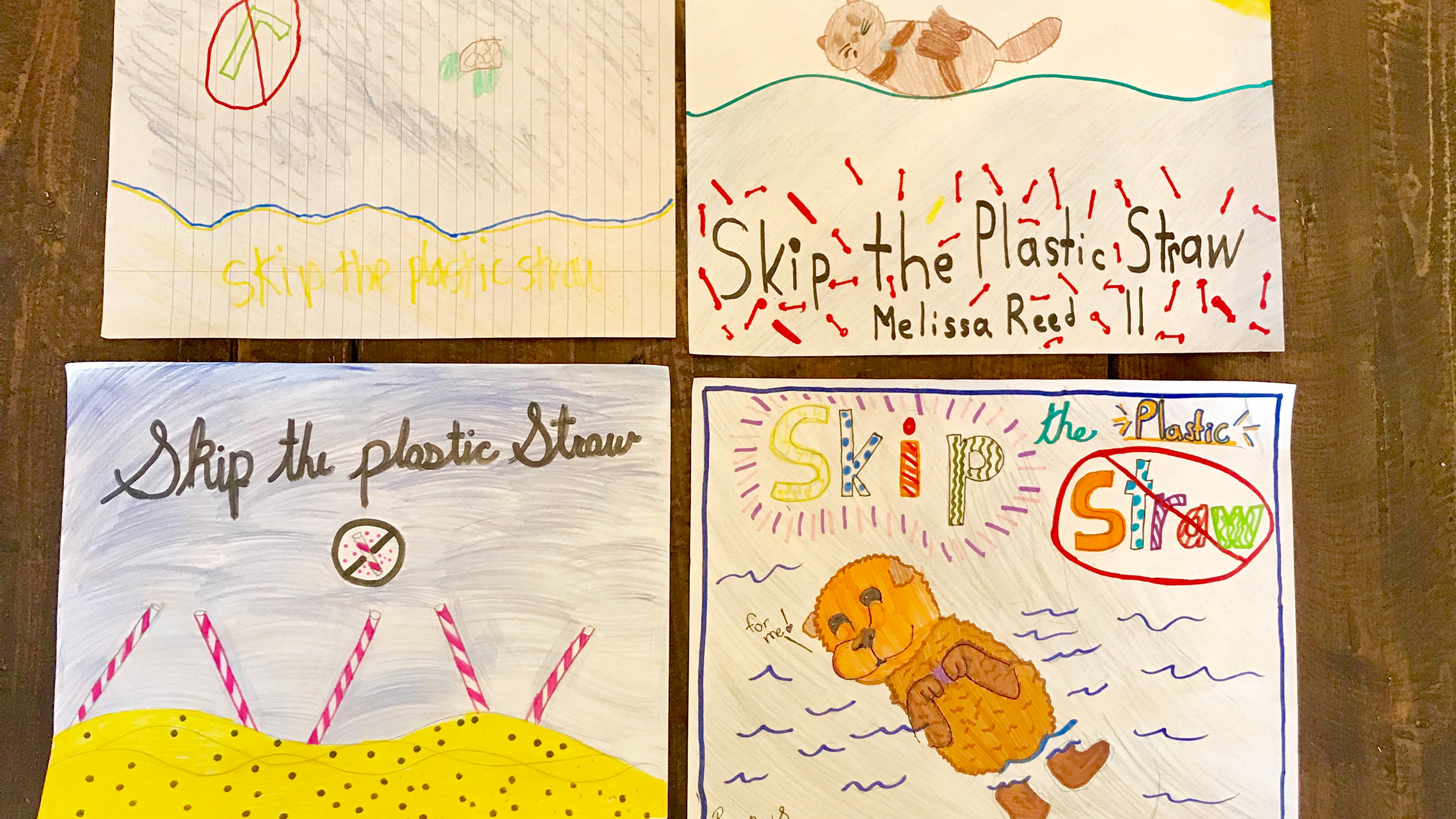 Skip the Plastic Straw Art Movement from PMMC kids attending the summer camp.