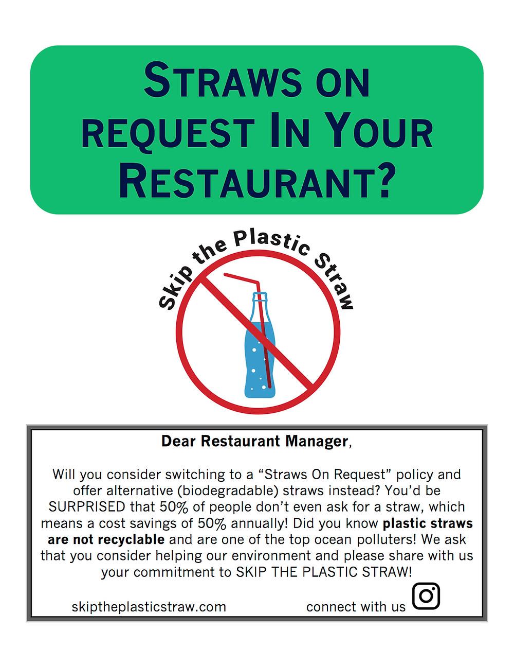 Skip the Plastic Straw Restaurant Flyer