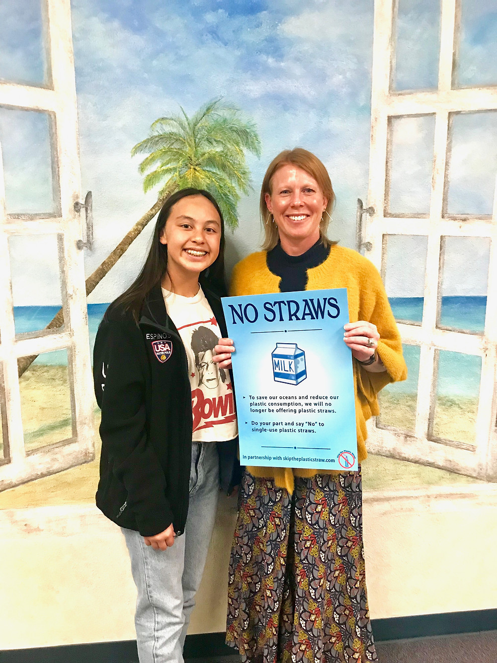 Mrs. Kirstin Hilleman, nutrition and food services director for Capistrano Unified School District, with Skip the Plastic Straw poster.