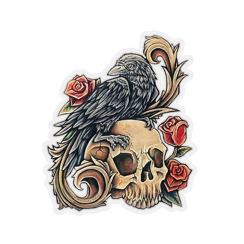 Victorian Raven Kiss-Cut Sticker Multiple Sizes