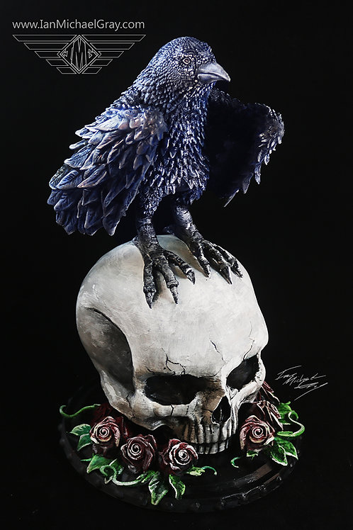 Raven and Skull Statue