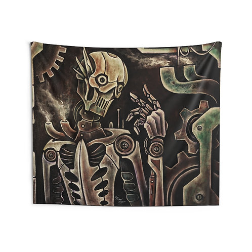 Steampunk Robot Wall Tapestry Multiple Sizes