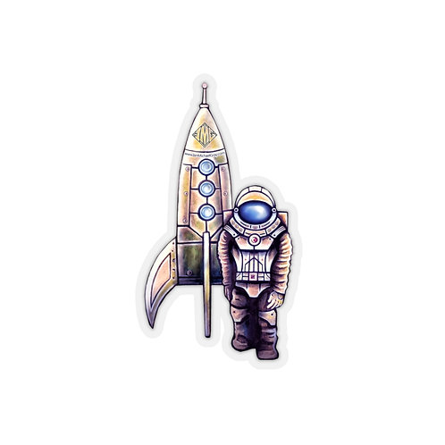 Astronaut with Rocket Kiss-Cut Stickers Multiple Sizes