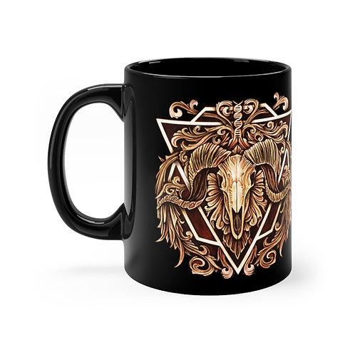 Aries Victorian Ram Skull Mug 11oz by Ian Michael Gray