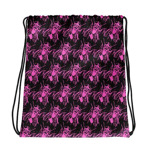 Pink Fly Drawstring bag