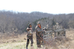 Hunters at the shooting station