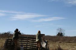 Hunters at shooting station