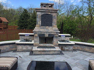 Built-in Grill, Brick Island, Fireplace, Water Features, Brick Patio, Unilock
