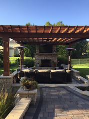 Pergola, Fireplace, Brick Patio, Entertainment Area, Unilock, Natural Stone
