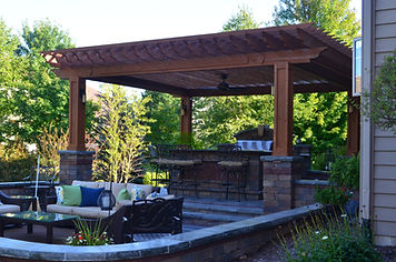 Pergola, Built-in Grill, Brick Island, Brick Patio, Unilock