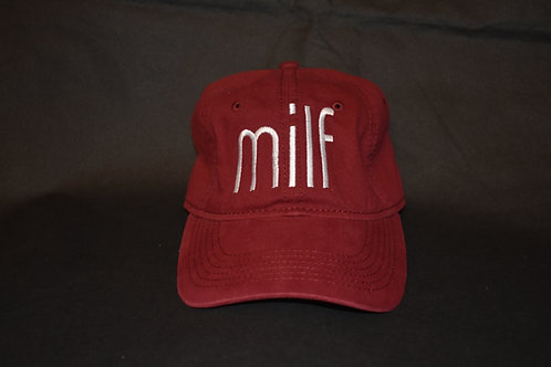 the milf hat - cranberry & white