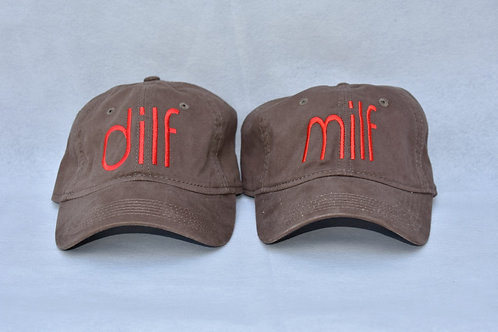 the dilf & milf hat set - brown & red