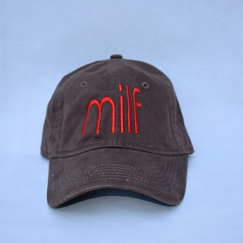 the milf hat - brown & red