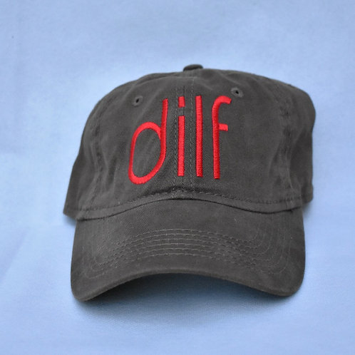 the dilf hat - brown & red