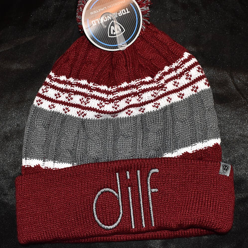 the dilf premium beanie - maroon/gray