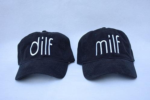 the dilf & milf hat set - black