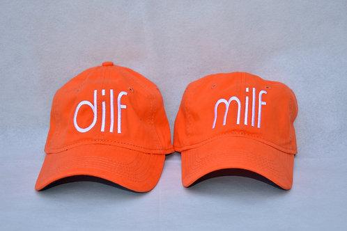 the dilf & milf hat set - orange