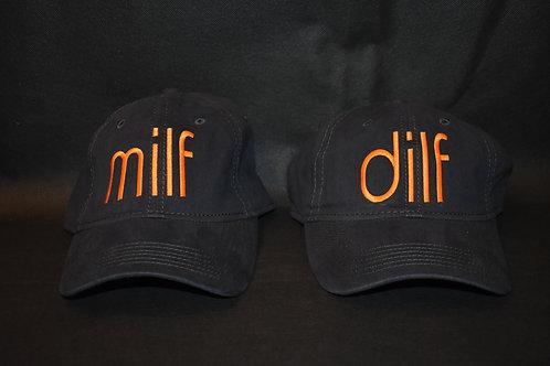the dilf & milf hat set - blue & orange
