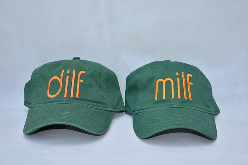 the dilf & milf hat set - green & orange