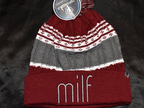 the milf premium beanie - maroon/gray