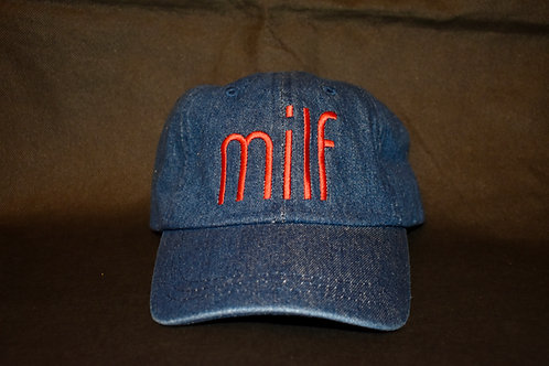 the milf hat - denim & red